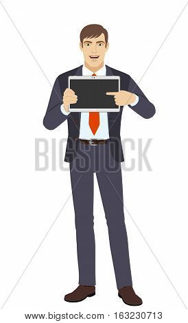 Businessman showing blank digital tablet PC. Businessman pointing at tablet computer. Full length portrait of businessman in a flat style. Vector illustration.