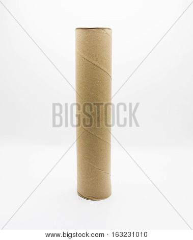 empty large tissue paper roll on white background
