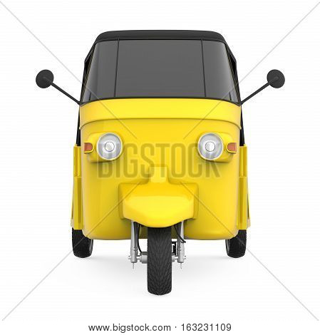 Yellow Auto Rickshaw isolated on white background. 3D render