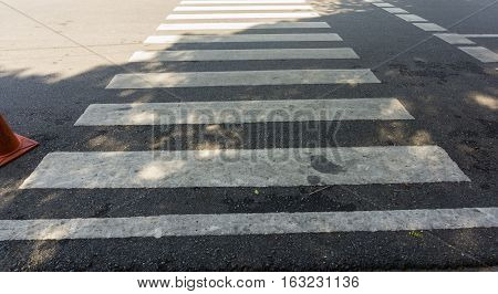 crosswalk on the road ,Nobody on Crosswalk in Thailand.