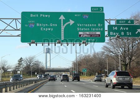 BROOKLYN, NEW YORK - DECEMBER 27, 2016: Belt Parkway in Brooklyn.The Belt System is a series of connected highways that form a belt-like circle around the New York City boroughs of Brooklyn and Queens
