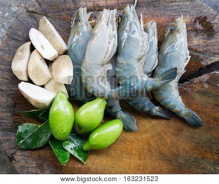 Ingredients of Thai food Tom Yum Goong. shrimp mushroom and herb.