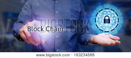 Blockchain Technology Concept, Businessman Holding Virtual System Diagram Bitcoin Protection And Pre