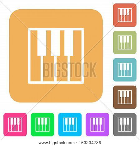 Piano keyboard icons on rounded square vivid color backgrounds.