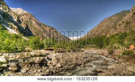 View to Bamboret river and Kalash valley Chitral Hindukush Pakistan