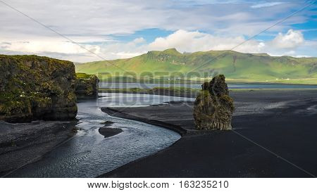 Landscape of Dyrholaey cape volcanic sand beach South Iceland
