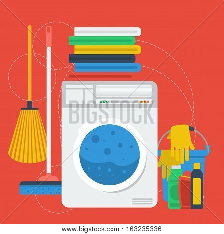 Vector square red banner laundry room. Concept cleaning service or personal laundry. Washing machine, dry linen and cleaning products in flat style on red background