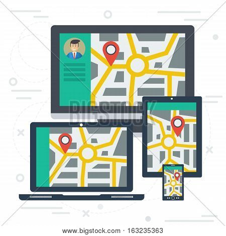 Vector concept of travel route on varios devices. Tracking of cargo or location label on city map with roads on monitor of computer, laptop, tablet and smart phone. Web square banner in flat style