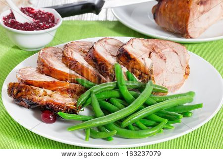 Delicious Roast In Oven Turkey Roulade Cut In Slices
