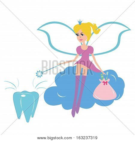 Vector illustration of a beautiful tooth fairy. Tooth fairy sitting on a cloud. Vector cartoon tooth fairy isolated on white background.