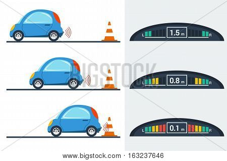 Vector flat illustration of parktronic concept. Small blue smart car parking backwards with bumper sensor to control the distance - three positions. New technologies for drivers