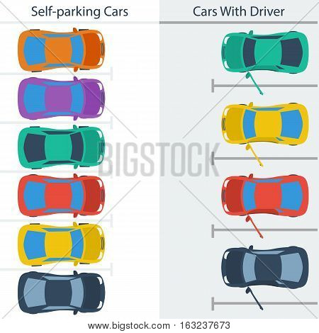 Vector Infographic comparison parking spaces with self-parking cars and cars with driver in flat style
