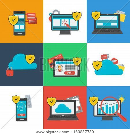 Vector Data Protection and Safe Work in Internet Icons Set on Colored Background. Nine icons protective shield on on various devices computer online financial transactions cloud storage in flat style
