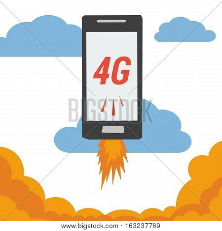 Vector banner smart mobile phone with 4G internet flying in clouds and flames from the bottom. Illustration in flat style