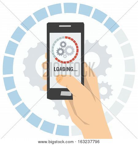 Vector concept quick update of new programs and applications. Smartphone in hand and circle uploading status bar on screen mobile. Banner in flat style