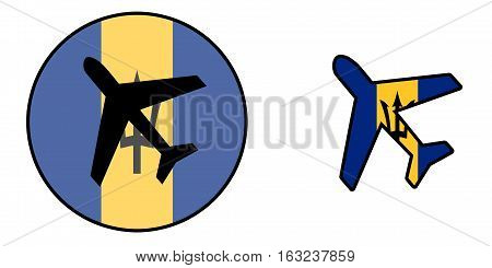 Nation Flag - Airplane Isolated - Barbados