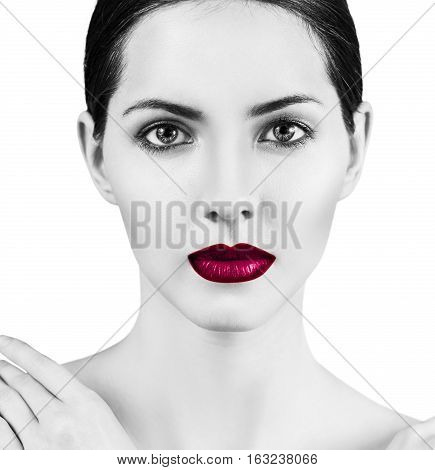 Young beautiful woman with healty fresh skin and bright make-up over white background. Spa concept.