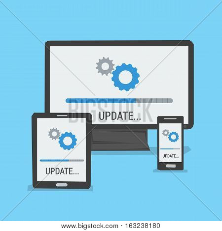 Vector concept update on different devices. Status bar on the screen of computer tablet laptop and smartphone. Banner in flat style