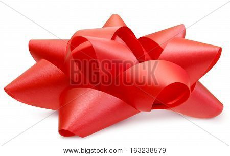 Red lush bow side view isolated over white clipping path
