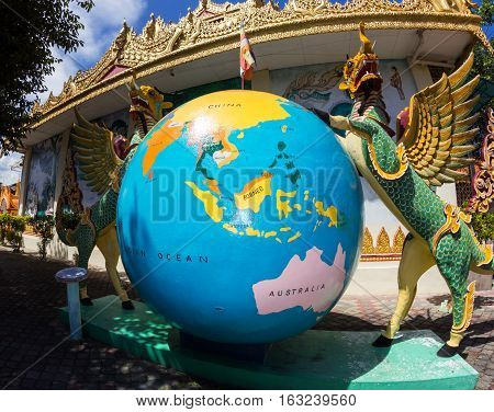 Giant asian globe with South-East Asia on it