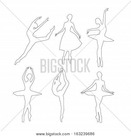 set of ballerinas silhouette outline. Linear silhouette  ballerina vector illustration.Ballerina dancing, ballerina jumping line silhouette isolated.
