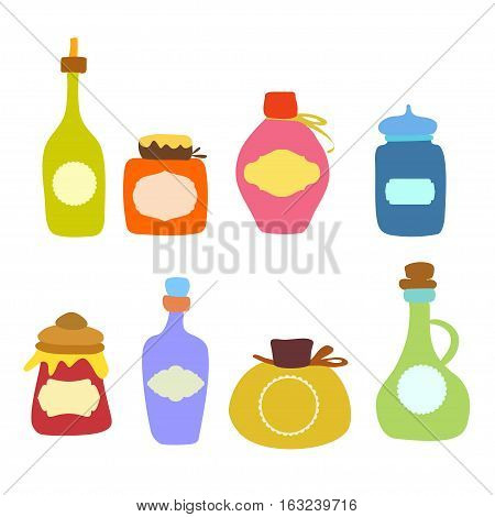 Jars of food vector set. Doodle jars and bottles isolated on white background. Set of empty jars vector.