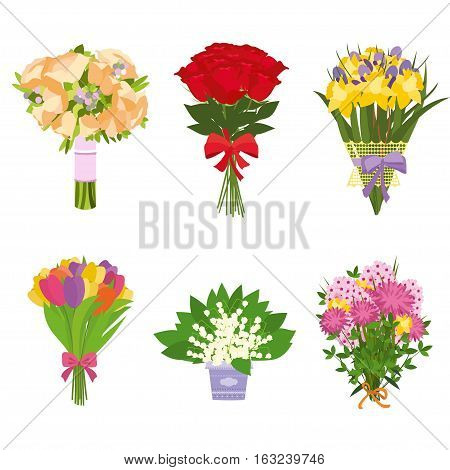 Flowers bouquets vector set. Set of bouquet of flowers isolated on white background
