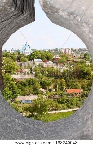 Nce view through loophole in fort in Kamjanets-Podolsk, Ukraine