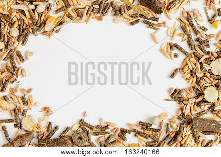dry food for rodents on white background top view.