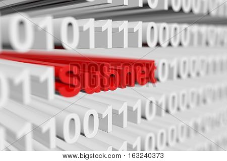 Subnet in binary code with blurred background 3D illustration