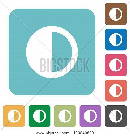 Contrast control white flat icons on color rounded square backgrounds