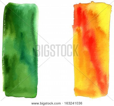 An abstract vector and watercolor representation of the Irish flag