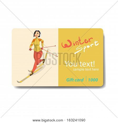 Winter sports cross country skiing. Sale discount gift card. Branding design for a sporting goods store