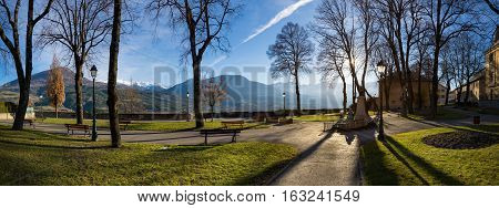 Jacques Gelu Square in Embrun on a winter afternoon. Hautes Alpes Southern French Alps France