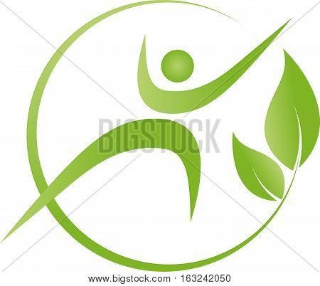 Person in motion, man and leaves, nature and fitness logo