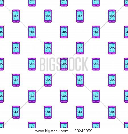 Translation from japanese to english on phone pattern. Cartoon illustration of translation from japanese to english on phone vector pattern for web