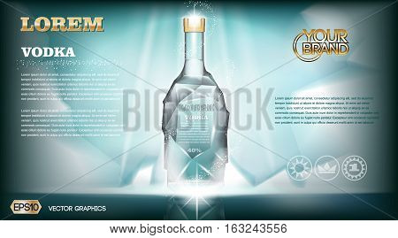 Digital vector aqua silver vodka bottle mockup with ice and sparkle, with your brand, ready for print ads or magazine design. Glossy and shine, realistic 3d style
