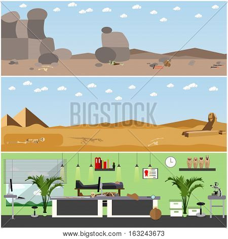 Vector set of posters, banners with archaeologists places, tools and equipment. Archaeological laboratory research and excavation concept design elements in flat style.