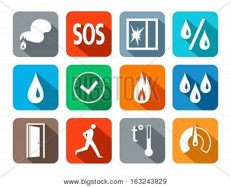 Alarm, icons, colored, fire detectors, humidity, motion, temperature, glass break. Vector white image on a colored background with a shadow. Pictures for the sensors.