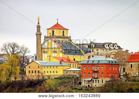 Cathedral for Saint Peter and Paul in Kamianets-Podilskyi city (Ukraine) was built in 1580, a stone. The architectural ensemble includes cathedral, a belltower, a triumphal arch and a Turkish minaret