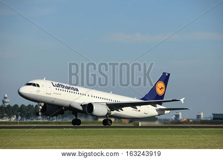 Amsterdam the Netherlands - August 18th 2016: D-AIZO Lufthansa Airbus A320-214 taking off from Polderbaan Runway Amsterdam Airport Schiphol