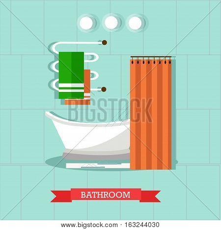 Bathroom interior with furniture. Vector illustration in flat style. Design elements, bathtub, shelves, heated towel rail.