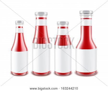 Vector Set of Blank Glass Glossy Red Tomato Ketchup Bottles of different Shapes for Branding with White labels Isolated on White Background