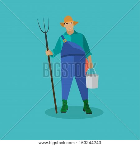 Farmer with pitchfork and bucke. Vector illustration in flat style.