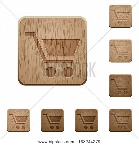 Empty cart on rounded square carved wooden button styles