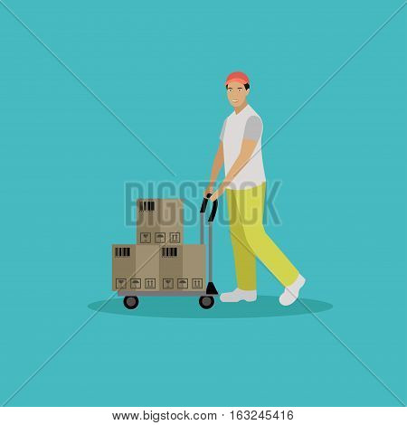 Logistic and delivery service concept banner. Vector illustration in flat style design. Delivery man working in warehouse and shipping products.