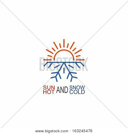 Hot and cold icon isolated on white background. Sun and snowflake symbol vector illustration
