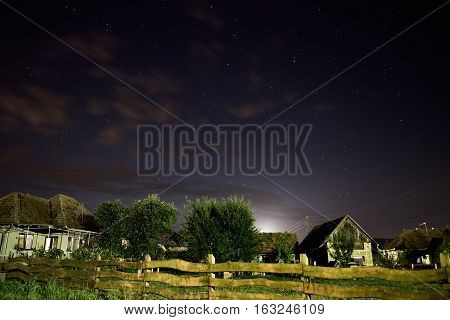 Rural landscape at nighttime with long exposure