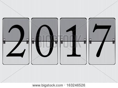 2017 New Year Analog Calendar Countdown Flip Board Vector Illustration
