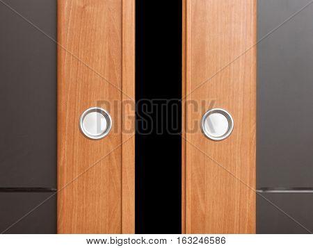 Close Up Sliding Wooden Door